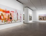 "Installation view of artworks ""Hot Bed 2"", ""West"" and ""East"" of exhibition Liu Xiaodong Painting as Shooting"