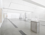 "Installation view of artworks ""Medusa"", ""Reservoir"", ""Traumfleisch"", sketch ""Reservoir"" and white canvases for the rejected paintings by Norbert Tadeusz of exhibition MEAT with Christian Lemmerz and Norbert Tadeusz"