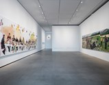 "Installation view of artworks ""Eat First"", ""Self-Portrait"" and ""Horse Market"" of exhibition Liu Xiaodong Painting as Shooting"