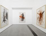 "Installation view of artworks ""Reservoir"", ""Floating Christ"" and ""Fleischkreuz"" of exhibition MEAT with Christian Lemmerz and Norbert Tadeusz"
