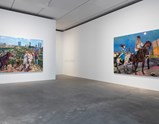 "Installation view of artworks ""Diary of an Empty City 2"" and ""Diary of an Empty City 3"" of exhibition Liu Xiaodong Painting Shooting"