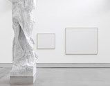 "Installation view of artworks ""Reservoir"" and white canvases for the rejected paintings by Norbert Tadeusz of exhibition MEAT with Christian Lemmerz and Norbert Tadeusz"