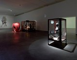 "Installation view of artwork ""The Couple"", ""In and Out"" and ""Cell XXILV (Portrait)"" of exhibition Louise Bourgeois Alone and Together"