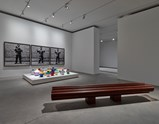 "Installation view of artwork ""Bench"", ""Colored Vases"" and ""Dropping a Han Dynasty Urn"" by Ai Weiwei of exhibition Ruptures 2"
