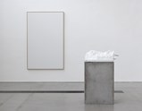 "Installation view of artworks ""Medusa"" and white canvas for the rejected paintings by Norbert Tadeusz of exhibition MEAT with Christian Lemmerz and Norbert Tadeusz"