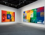 "Installation view of artwork ""Courtyard"" and ""Catch"" by Robert Rauschenberg in exhibition Late Series (Urban Bourbon)"