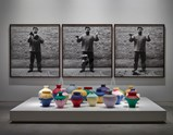 "Installation view of artwork ""Colored Vases"" and ""Dropping a Han Dynasty Urn"" by  Ai Weiwei of exhibition Ruptures 8"