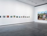 "Installation view of artworks ""Donkey"", ""Diggings"", ""Blue and Green Bottles"", ""Xiaojun Returns Home"", ""Open-Air Coal Mine"", ""Xiaojun and Xiuling"", ""Four Colums"", ""Crane"", ""Bricks"", ""Spray"", ""Dog Skull"", ""Skeleton Building"", ""Diary of an Empty City 2"" of exhibition Liu Xiaodong Painting Shooting"
