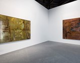 "Installation view of artworks ""Crossing"" and ""Raffish Tint"" by Robert Rauschenberg in exhibition Late Series (Borealis)"