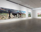 "Installation view of artwork ""Qinghai - tibet Railway"", ""Time"" and ""The Nude Black Maja"" of exhibition Liu Xiaodong Painting as Shooting"
