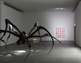 "Installation view of artwork ""Crouching Spider"", ""COYOTE"", ""Nature Study # 5"", and ""Self Portrait"" by Louise Bourgeois of exhibition  Alone and Together 3"