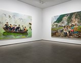 "Installation view of artwork ""Into Taihu"" and ""Out of Beichuan"" of exhibition Liu Xiaodong Painting as Shooting"