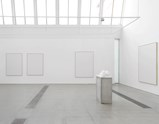 "Installation view of artworks ""Medusa"" and white canvases for the rejected paintings by Norbert Tadeusz of exhibition MEAT with Christian Lemmerz and Norbert Tadeusz"