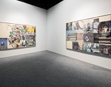 "Installation view of artworks ""Random Want"" and ""Net Profits"" by Robert Rauschenberg in exhibition Late Series (Scenario)"