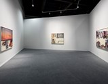 "Installation view of artworks ""Orange Fill"", ""By Invitation"" and ""Reach Beach"" by Robert Rauschenberg in exhibition ""Late Series - Runt"""