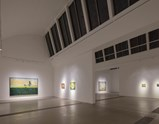 Installation view of Peter Doig, Cabins and Canoes The Unreasonable Silence of the World, Curated by Francis Outred